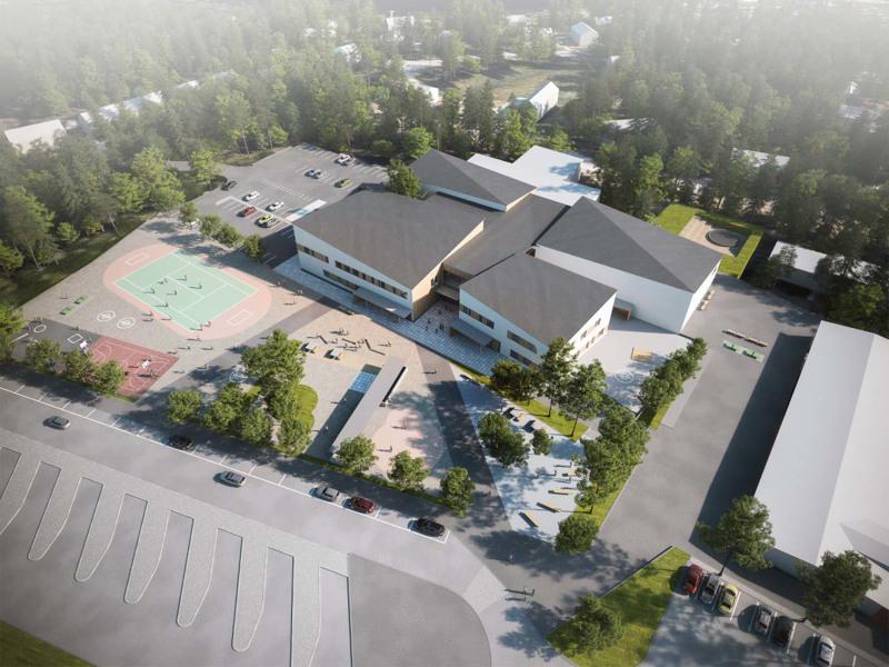 """Uusi koulu muodostuu neljästä solumaisesta """"nopasta"""", joihin on eriytetty omat tilat yläkoulun luokille, lukiolle, taito- ja taideaineille sekä liikuntasalille. Havainnekuvassa Mäkirinteen koulu näkyy oikealla ja kirjaston katto koulun takana."""