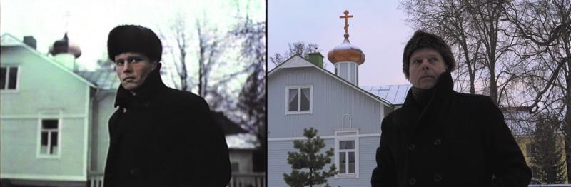 John Savage Kokkolan ortodoksisen rukoushuoneen edessä 1981 ja vieressä Sami Valkonen samalla paikalla dokumentin kuvauksissa 2018.