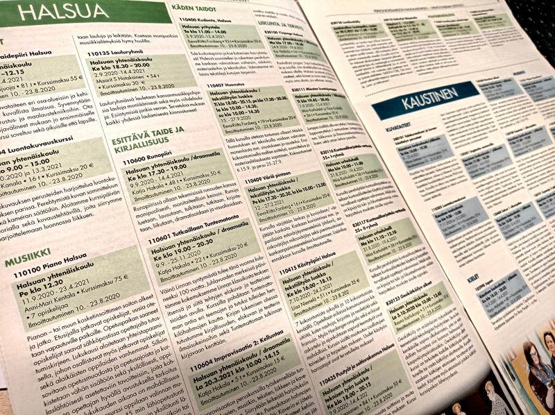 Perhonjokilaakson kansalaisopiston vuosiohjelma ilmestyi torstaina paikallislehden välissä liitteenä.