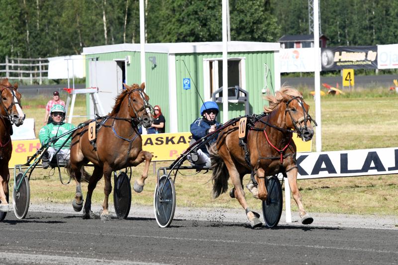 Johan Hjelt (oik.) ohjasti Aronin Muiston voittoon kylmäveristen aikatasoituksessa.
