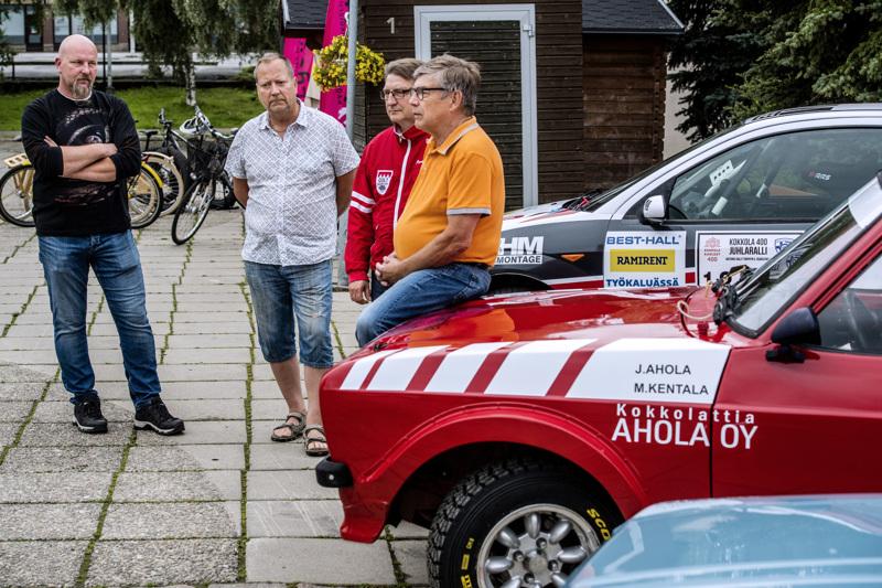 Anssi Räikkönen (oik.), Jyrki Lampela, Jarmo Pöntiskoski ja Jani Ahola ovat eri rooleissa mukana lauantain Kokkola-rallissa.
