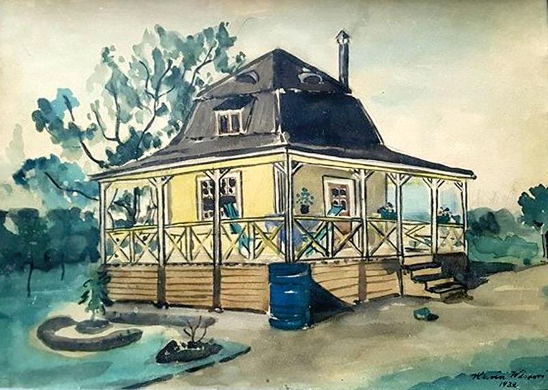 """""""Kaffekvarnen"""" Kahvimyllyn muotoinen Alice ja Herman Slotten huvila, joka on purettu 1979-80. Akvarelli: Karin Wisuri (myöh. Hellman) 1932."""