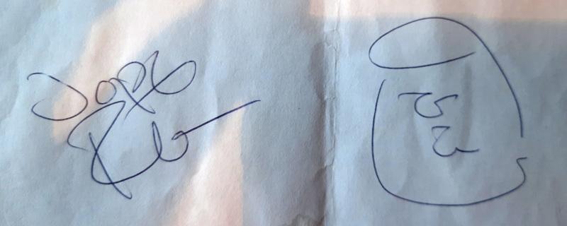 Jope Ruonansuulta vuonna 2016 saatu nimikirjoitus.