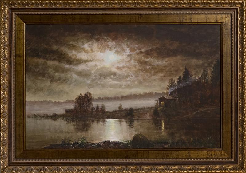 Erityisesti kuutamomaisemien maalaaminen on Jere Honkasen mieleen. Tämä työ on nimeltään Marlebeckin mökki.
