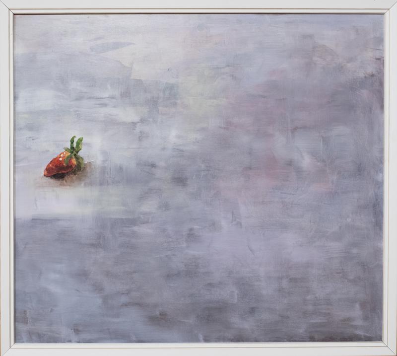 Näyttelyssä on Manja Bielalta esimerkiksi hedelmä- ja marja-aiheisia töitä. Tämä teos on nimeltään Vasemmalla.
