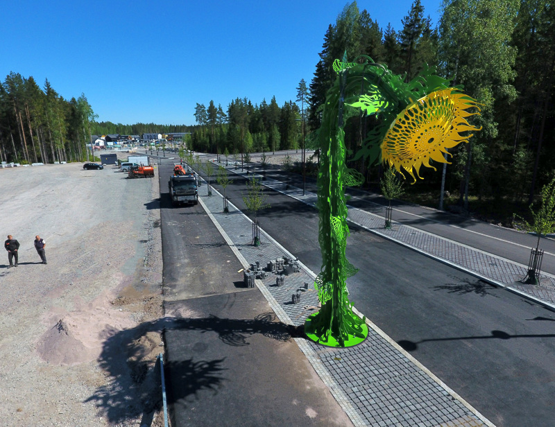 Pekka Jylhän Auringonsilta-teoksen teräksinen auringonkukka on 9 metriä korkea. Yöllä se valaisee siltaa 50 tehokkaalla ledillä.