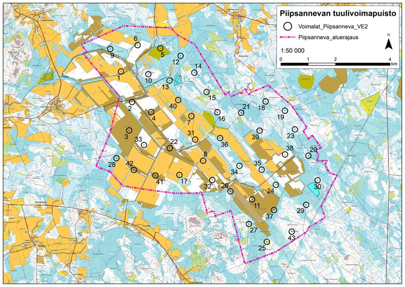 Puhuri Oy suunnittelee Piipsannevalle 43 voimalan tuulipuistoa. Voimaloiden tarkat sijainnit täsmentyvät myöhemmin kaavoituksen edetessä.