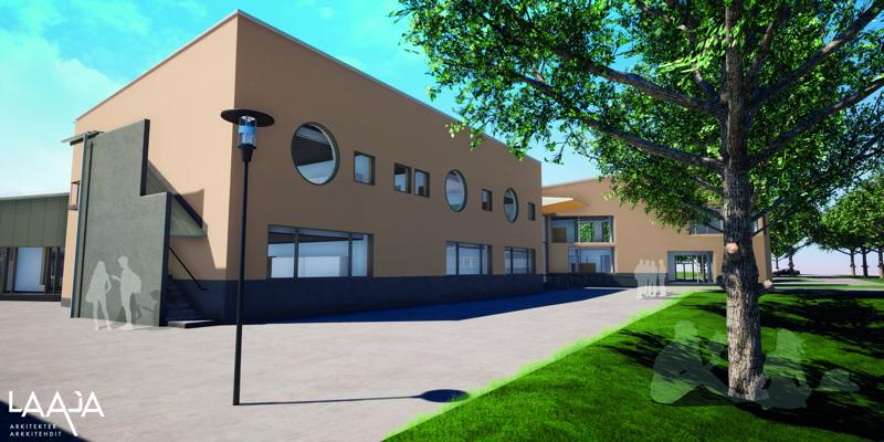 Oxhamnin koulun länsipuolen laajennustyöt käynnistyvät. Uudisrakennus kiinnittyy ns. Rådmanin kiinteistöön.