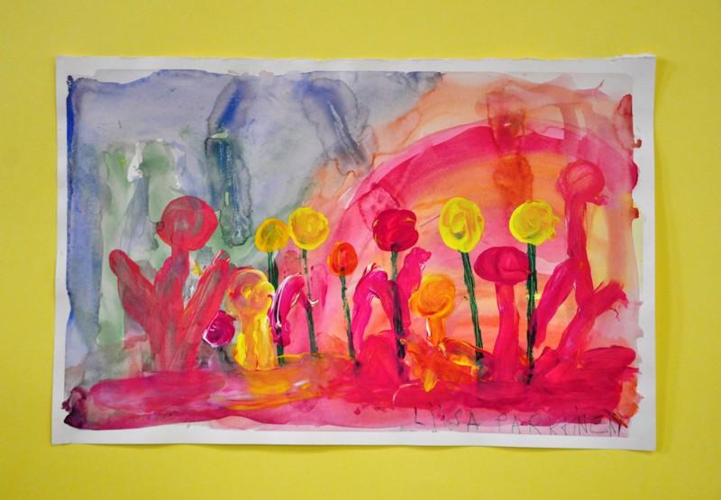 Kukkia. Liisa Parkkisen väri-iloittelua. (vasemmalla)