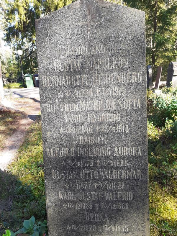 Gustaf Napoleon Bernadotte Heidenbergin (1836-1915) hautakivi Marian hautausmaalla.