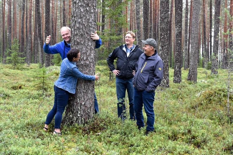 Suojelukohde. Hanna-Mari Laitala, Jari Orjala, Tero Takalo ja Juha Yli-Korpela iloitsevat Kettukankaan metsässä alueen saamista luonnonsuojelukohteeksi.