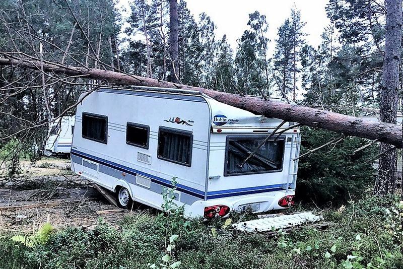 Aila-myrskyn tuhon jälkiä Fäbodan matkailualuella.