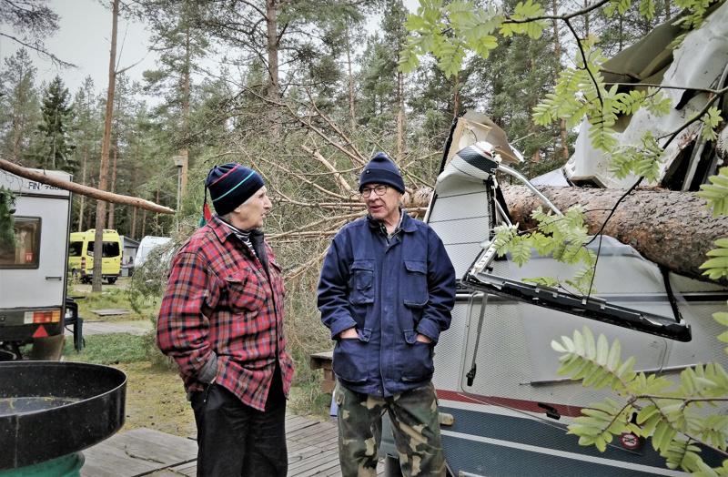 Aila-myrskyn kaatama mänty runnoi Armida Sandbergin ja Seppo Laineen matkailuvaunun käyttökelvottomaan kuntoon. - Tuskin tästä enää kalua saa, he surevat.