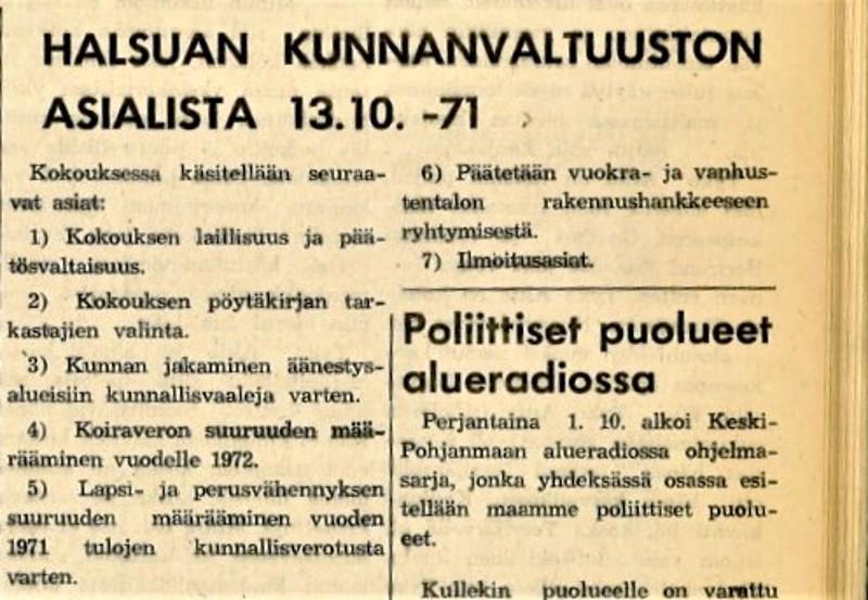 Kokousmateriaalien formaatti on muuttunut kovasti. Kuvapari todisteeksi: tässä lehteen painettu lyhyehkö, taustatiedoton esityslista syksyltä 1971...