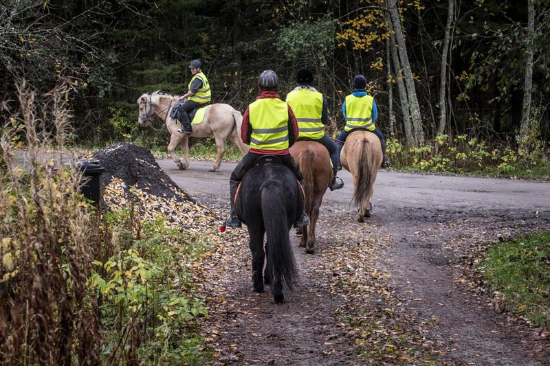 Sanna Ihajoki johdattaa ratsastajat kälviäläiseen luontoon.