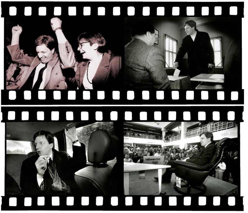 Kannuksen Kennedy. Tuuletus Porin puoluekokouksessa 1990 puheenjohtajaäänestyksen voiton varmistuttua. Vieressä vaimo Kirsti Aho (ylh. vas.), äänestämässä Kannuksessa maaliskuussa 1991, Keskipohjanmaan haastattelussa tuoreena pääministerinä ja kansalaistapaamisessa Kokkolan Kallentorilla vuonna 1991.