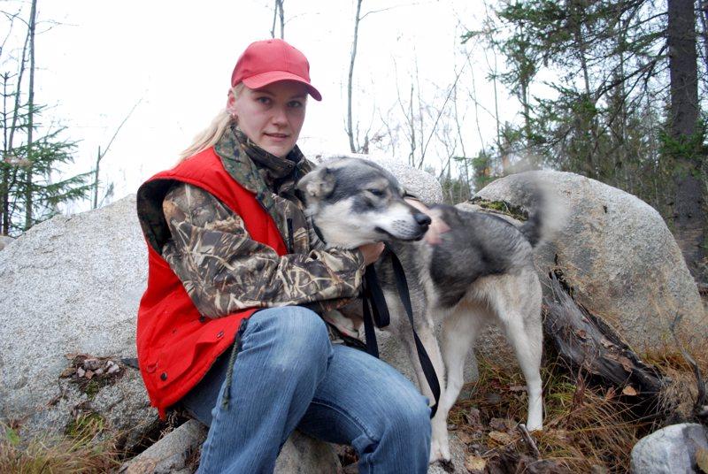 Tiina Riuttanen osallistui ensimmäiseen hirvijahtiinsa jämtlanninpystykorva Kiiran kanssa. Rytkynkylän porukassa metsästi Tiinan lisäksi 34 miestä, mutta ukkoööri oli ottanut naisvahvistuksen vastaan valittamatta.