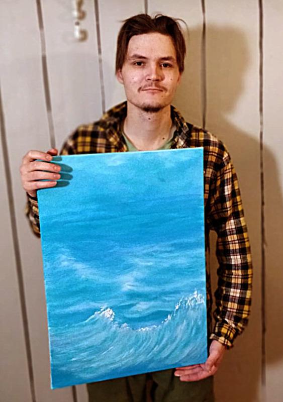 Pauli Mäntykangas on nuori oulaistelainen kuvantekijä. Kuvassa hänen näkemyksensä meren aalloista.