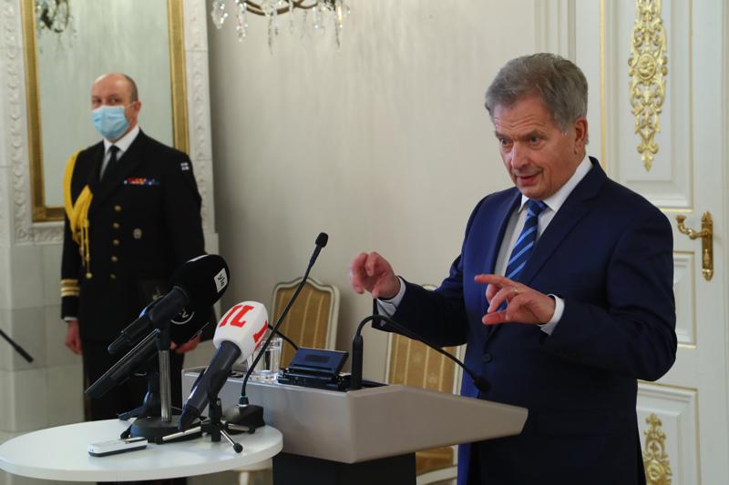 Tasavallan presidentti Sauli Niinistö puhui medialle sunnuntaina Presidentinlinnassa järjestetyssä tilaisuudessa.