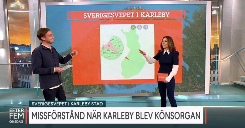 Axel Pileby ja Tilde de Paula Eby tarkastelivat ohjelmassa Kokkolan muotoa kartalla.