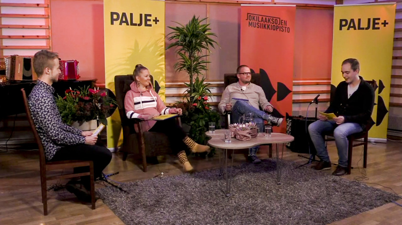 Mikko Malin, Henna-Maija Vannemaa, Sami Pirttilahti ja Tarvo Kantola Palje+:n livestudiossa.