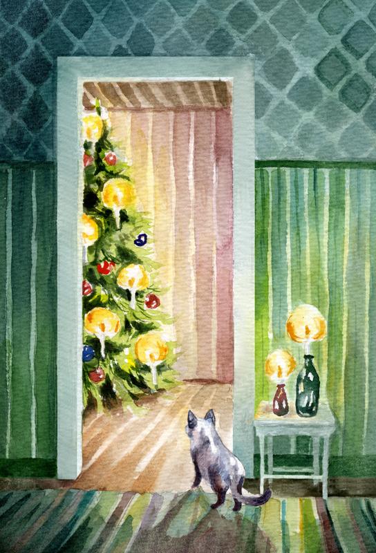 Haapavedeltä lähtöisin olevan Jutta Luukkosen kuvittamassa kotimaan ikimerkissä on joulun odotuksen tuntua. Tupa on siivottu, joulukuusi koristeltu ja kynttilät hehkuvat lämpöä.
