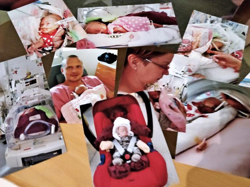 """Valokuvia syksyltä 2016. Kotiutumishetkellä sairaalasta Mimosalla oli painoa 1,995 grammaa ja lapsi oli vanhempien silmissä """"suuri"""". Muiden silmissä vauveli oli pitkään lilliputti nukke, jolle pienistä pieninkin haalari oli jättisuuri."""