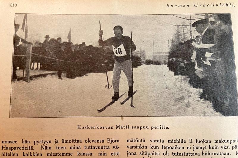 Suomen Urheilulehdessä 22.2.1913 julkaistu kuva maaliin saapuvasta Matti Koskenkorvasta.