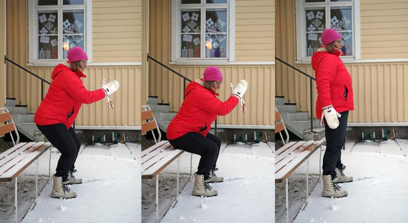 Seija Hernetkoski kertoo koulun pihan olevan mainio paikka ulkojumpalle.