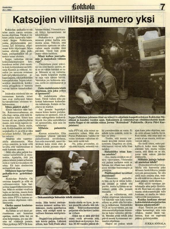 Kokkola-lehden uutisointia Kokkola TV:stä vuodelta 1993.