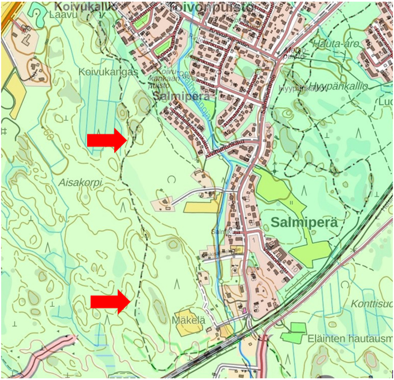 Kartassa on merkitty punaisella nuolella ladun sulkupaikat.