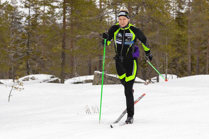 Roosa Juuska hiihti Suomen Cupin perinteisellä 5 km:n matkalla sijalle 19. Arkistokuva.