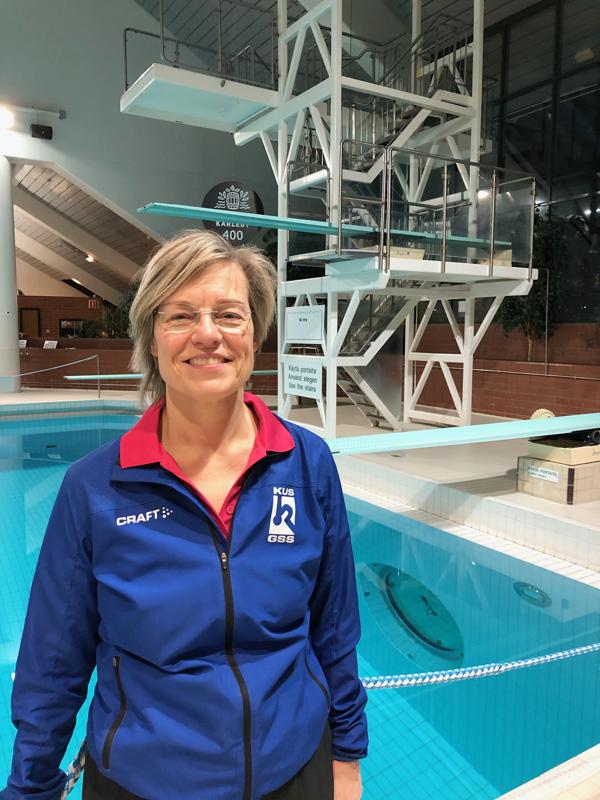 Marja Matturi-Slotte on 35 vuotta toiminut uimahyppyvalmentajana.
