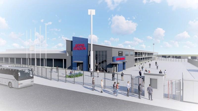 Noin 3000 henkeä vetävän ja kustannusarvioltaan 4-5 miljoonan euron hintaisen stadionin rakennustyöt saattavat alkaa jo tänä vuonna. Havainnekuva.