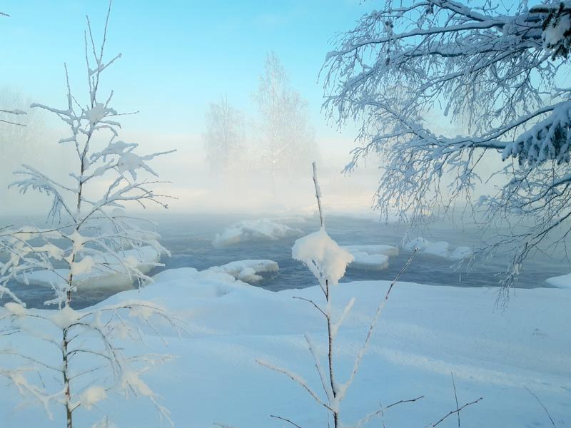 Talvea Perhonjoen rannalla Alavetelissä.