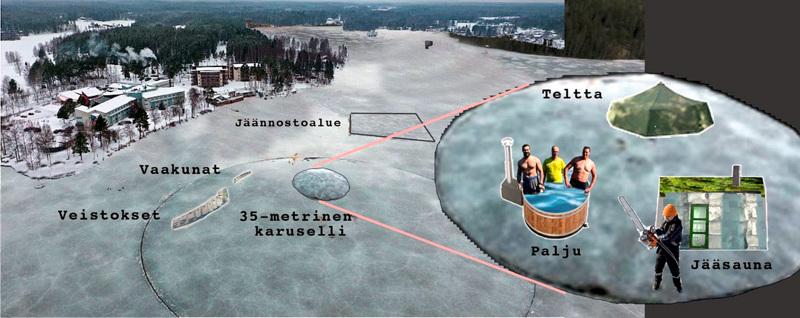 Havainnekuva kertoo, mistä on kysymys. Lappajärven Kivitipun edustalla yritetään viikonloppuna viritellä maailman suurin jääkaruselli. Sen sisälle sahataan pienempi karuselli, johon tulee muun muassa jääsauna ja nukkumateltta alueen kunnanjohtajien käyttöön.