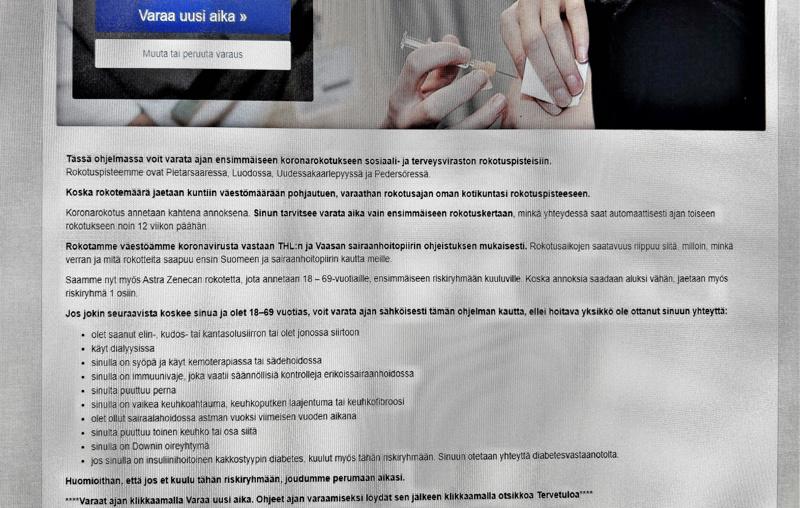 Sähköinen ajanvaraus koronavirusrokotteeseen on otettu käyttöön Pietarsaaren sosiaali- ja terveysvirastossa.