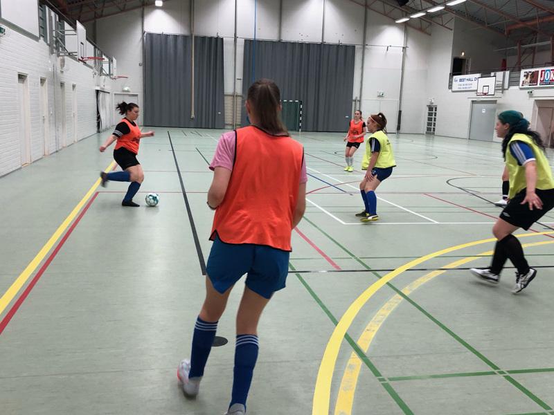 Kälviän Tarmon naisten futsaljoukkue maanantain harjoituksissa. Joukkue pelaa vielä kaksi kotiottelua, jonka jälkeen selviää jatkuuko kausi liigakarsinnoissa.
