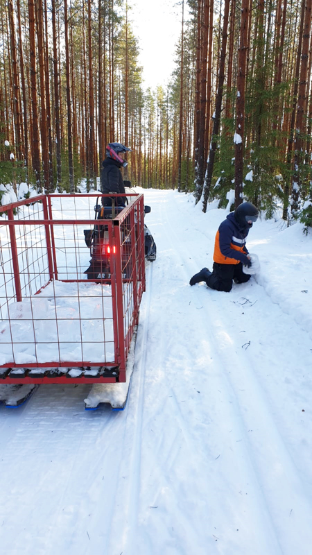 Liikunnanohjaajat kuljettivat 50 jäälyhtyä, joihin sytytetään kynttilät perjantaina Rieskaretki-viikkojen ja juhlivan kaupungin kunniaksi. Kuvassa Jaakko Matola ja harjoittelija Niko Nevalainen.
