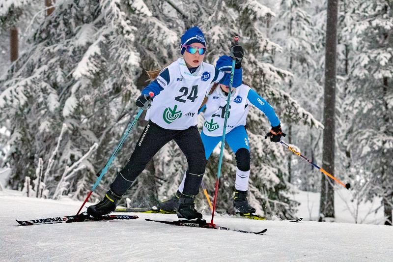 Reeta Taskila vastasi haapavetisittäin viikonlopun kovimmasta hiihtotuloksesta sunnuntaina Kempeleen Köykkyrissä. Reeta sijoittui kovatasoisessa N12-sarjassa kolmanneksi. Arkistokuva.