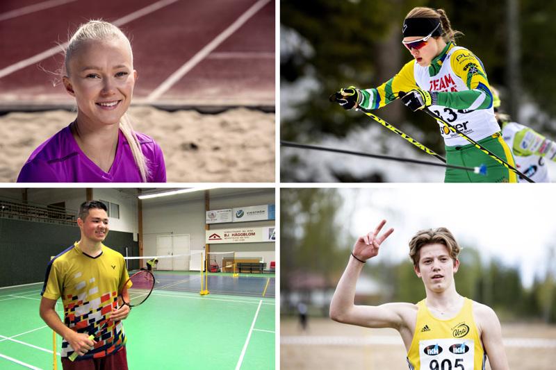 Roosa Määttälä (ylh. vas.), Tiia Olkkonen, Safin Emran ja Eemeli Katajalaakso muodostavat KPK Kyvyt -urheilijatiimin.