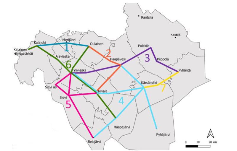 Kartassa näkyy yhteydet, joille ely on hankkimassa joukkoliikennettä jokilaaksojen alueella. Lisäksi alueella on markkinaehtoista sekä kuntien rahoittamaa joukkoliikennettä.