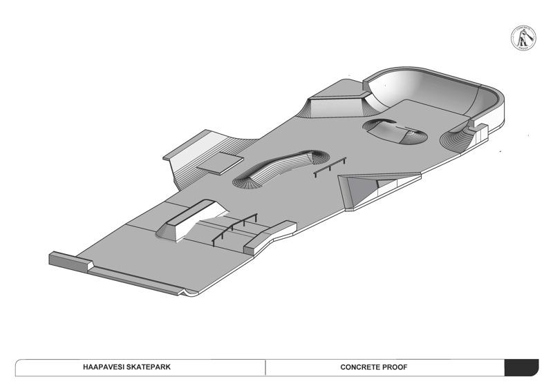 Betonisten skeittiparkkien rakentamiseeen erikoistuneen Concrete Proofin Haapavedelle  suunnittelema skeittiparkki on reilun 300 neliön betoninen rakennelma, joka pitää sisällään erilaisia vauhdinottopaikkoja ja kaiteita, joita voi hyödyntää laudoilla temppuilussa.