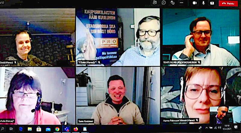Vaalipaneeliin osallistuivat vasemmalta ylhäältä alkaen Lisen Sundqvist (vas.), Erkki Salmu (Pro), Kim Yli-Pelkola (r.) sekä vasemmalta alhaalta lähtien Ritva Karhula (sd.), Sami Koskinen (kesk.) sekä Hanna Palovuori (vihr.).