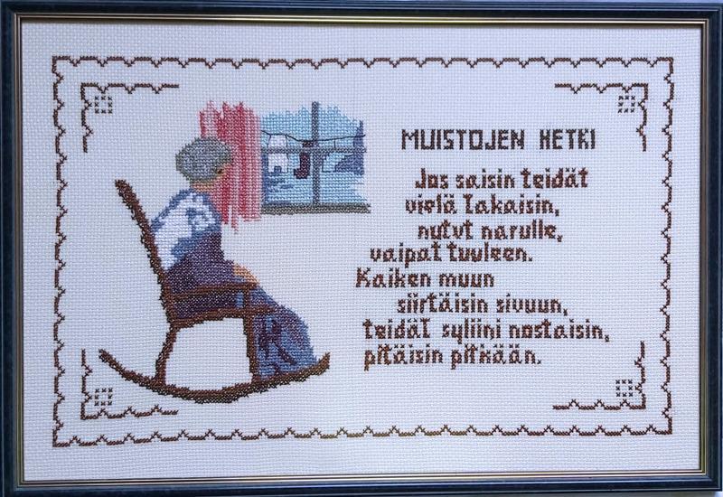 Toholampilainen Ritva-Liisa Laaksonen, 82, ompeli tämän koskettavan ristipistotyön, jonka tekstin ja kuvan on suunnitellut Eeva Heilala.