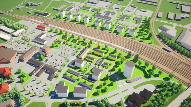Havainnekuvassa rautatien takana näkyvät kahdeksan kerrostalon tontit ovat jäämässä Senaatin Asema-alueet Oy:lle. Samoin punakattoinen suojeltu asemarakennus. Sen viereen nykyiselle linja-autoaseman tontille on varattu paikka kaksi ja kolme kerrosta korkealle liike- ja toimistorakennukselle.