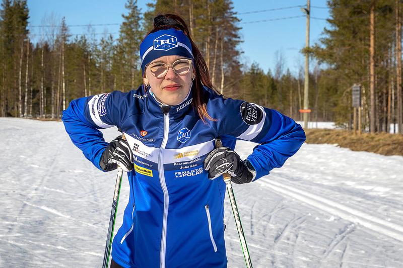 Riina Taskilan kauden viimeinen startti ei täyttänyt Riinan omaa tavoitetta, mutta perjantainen 18. sija nuorten SM 5 km:n perinteisellä ilahdutti. Arkistokuva.