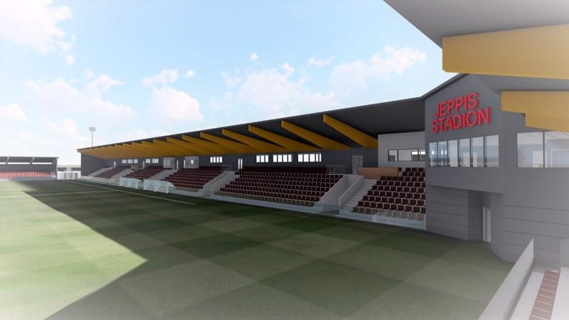 Pietarsaaren jalkapallostadion alkaa nousta Länsikentälle suunnitelman mukaan loppukesästä ja ottelutunnelmaan päästään touko-kesäkuussa 2022.