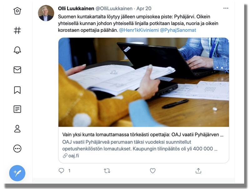 Pyhäjärven kaupunginjohtaja Henrik Kiviniemi ja OAJ:n puheenjohtaja Olli Luukkainen ovat nokitelleet toisiaan Twitterissä.