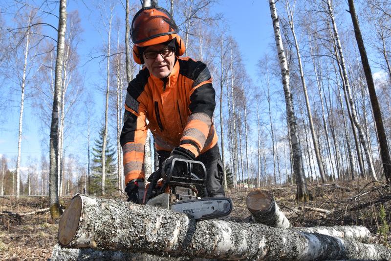 Päiviö Karttunen sai Likolammen metsäpalstalta myös koivua moottorikelkan reenjalakseen. Laavu tehtiin haapapölkyistä.